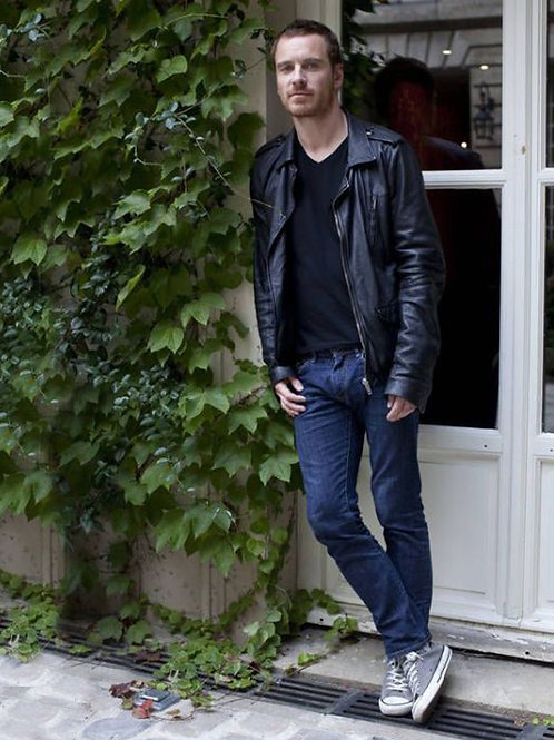 Michael Fassbender Leaning on an Ivy Covered Wall
