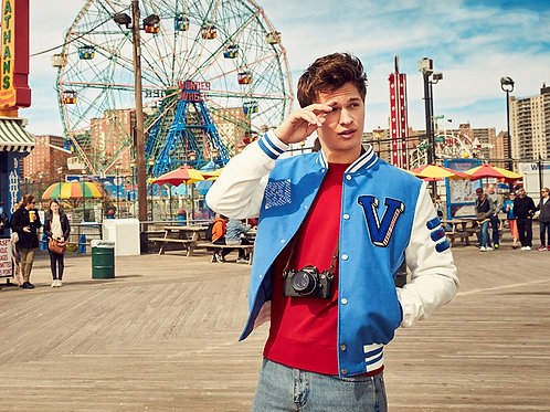 Ansel Elgort at an Amusement Park Bulging in Jeans