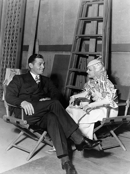Clark Gable & Jean Harlow between scenes for Hold Your Man circa 1930