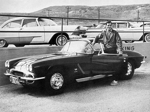 George Maharis Posing with a Route 66 Corvette