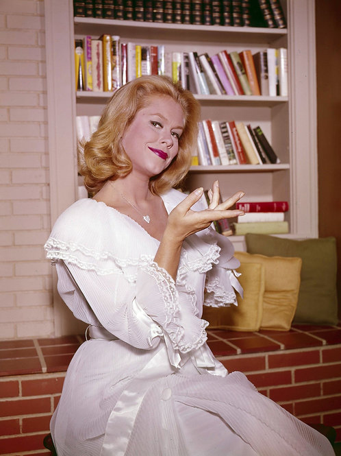 Elizabeth Montgomery by the Bookcase in Bewitched