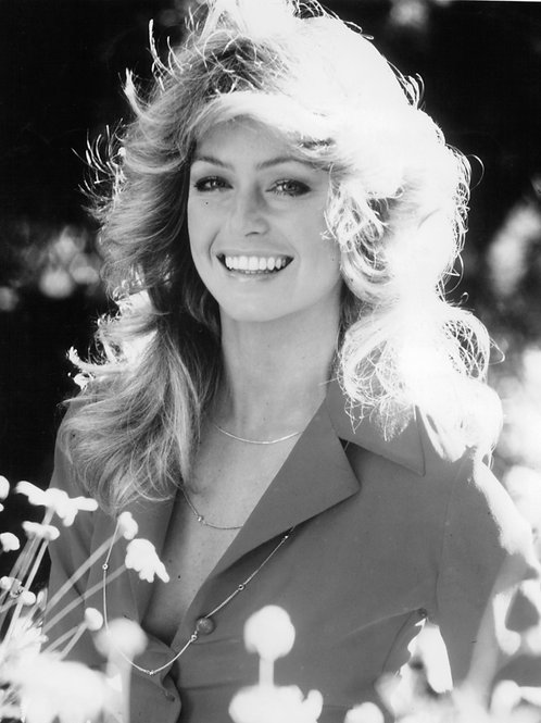 Beautiful Farrah Fawcett in a Field of Flowers