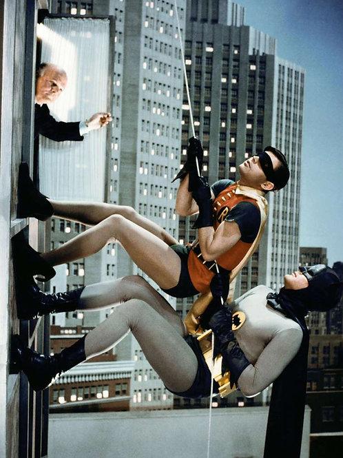 Burt Ward & Adam West as Batman & Robin Scaling a Building