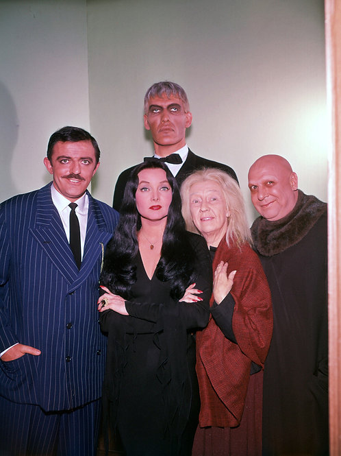Cast of the Addams Family in a Color Family Portrait