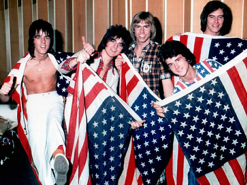 Bay City Rollers Holding American Flags
