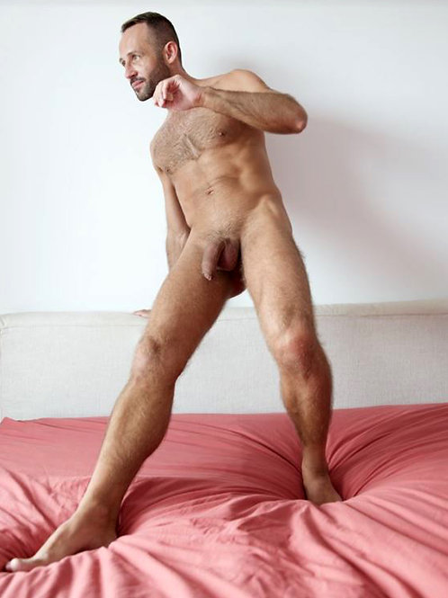 Fitness Dude Standing Nude on a Bed