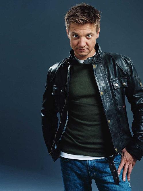 Jeremy Renner Wearing Jeans & a Leather Jacket