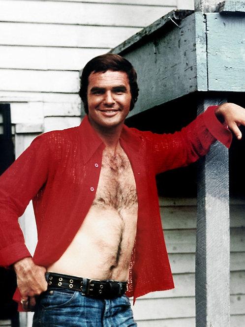 Burt Reynolds Red Shirt Open