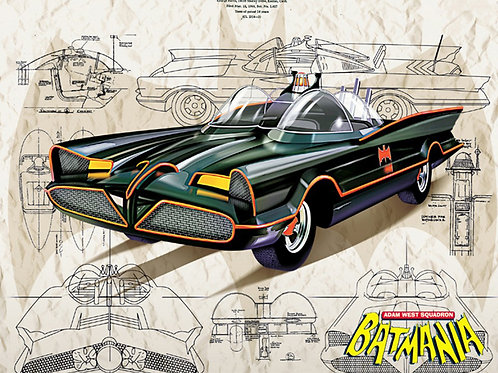 Drawing of the 60s Batmobile