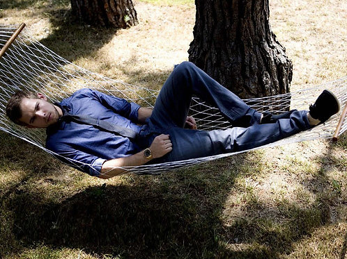 Max Thieriot Relaxing on a Hammock
