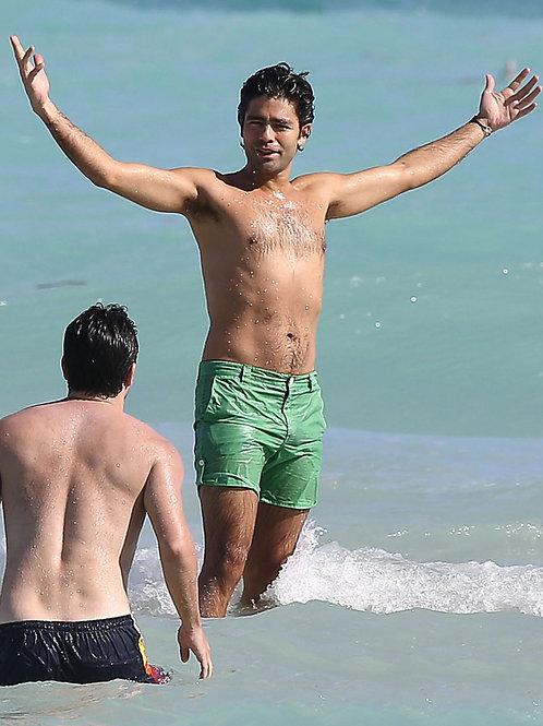 Adrian Grenier at the Beach in Green Shorts