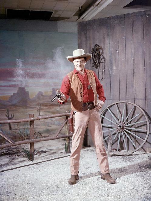 James Arness Aiming his Gun in Gunsmoke