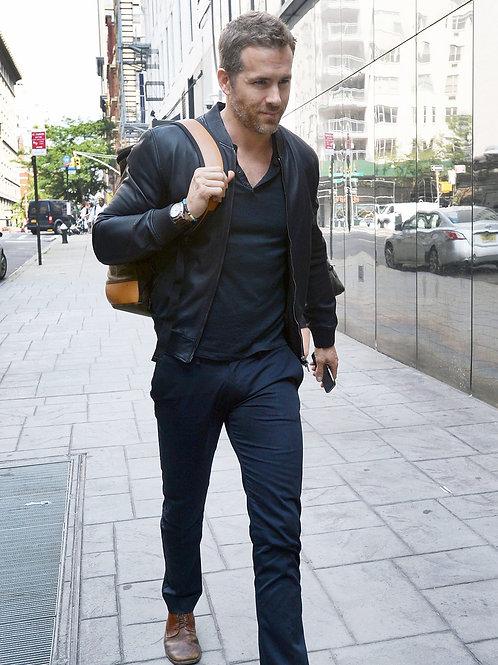 Handsome Ryan Reynolds Walking Down a Sidewalk