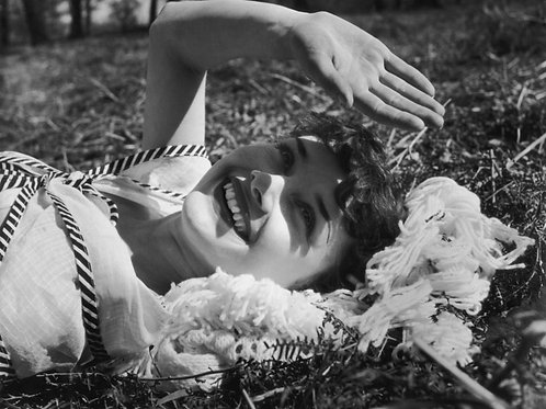 Audrey Hepburn in London in 1950 Laying in the Park