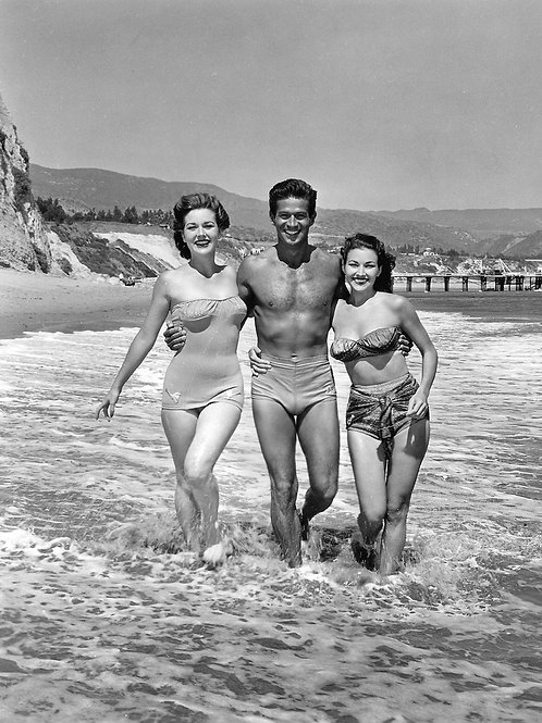 George Nader in a Swimsuit Between Cynthia Patrick & Mara Corday in 1955