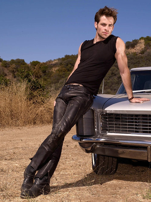 Chris Pine Wearing Tight Black Leather Pants