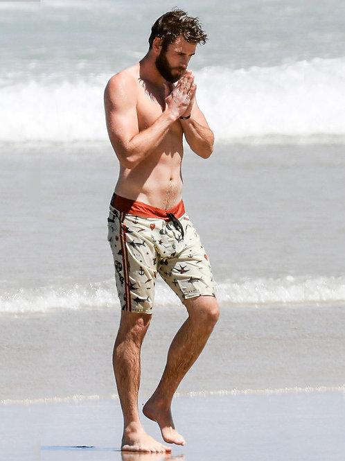 Bulging Liam Hemsworth Wearing Wet Boardshorts