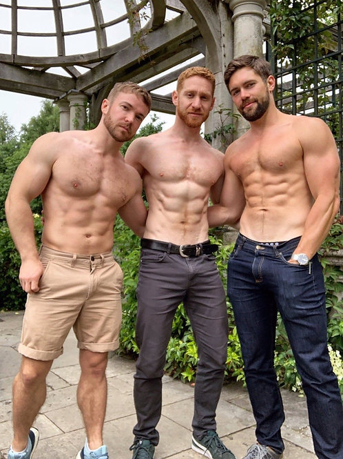 3 Shirtless Muscular Buddies