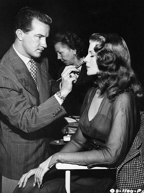 Rita Hayworth Getting Makeup in 1940