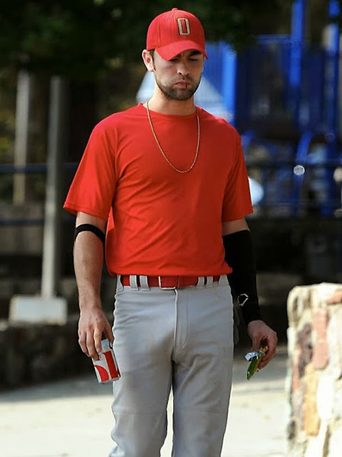 Chace Crawford Wearing a Red Shirt & Baseball Pants