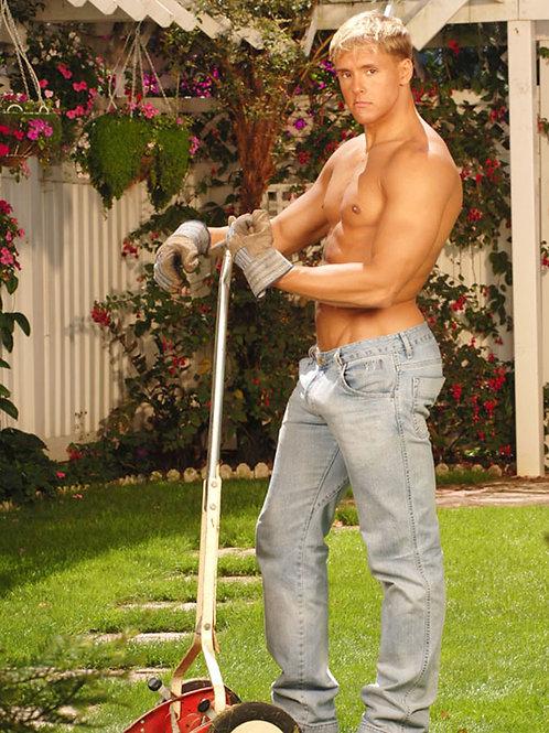 Brad Cutting the Lawn