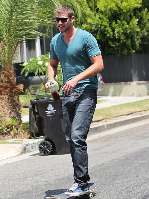 Liam Hemsworth Skateboarding