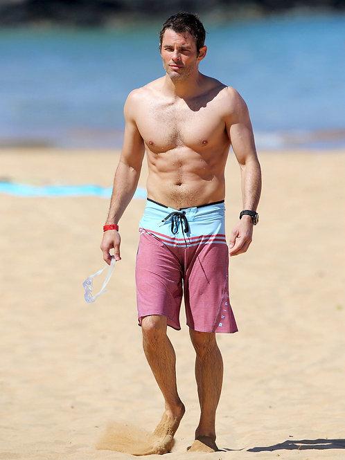 James Marsden Wearing Wet Boardshorts