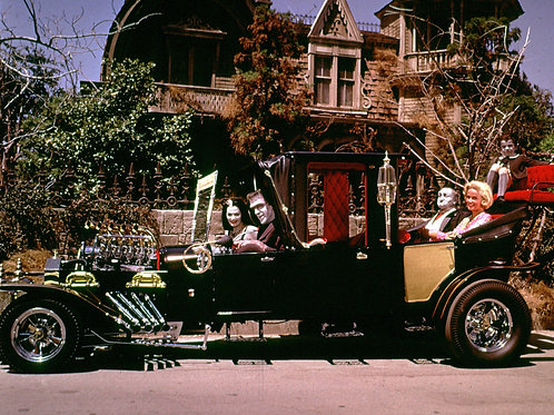 1960s Munsters Family Sitting in the Koach in Front of Thier House
