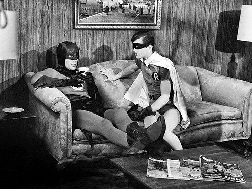 Actors Adam West & Burt Ward on the set of Batman Taking a Break