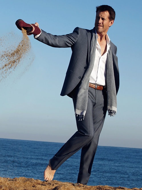 James Denton in a Suit Walking Barefoot on the Beach
