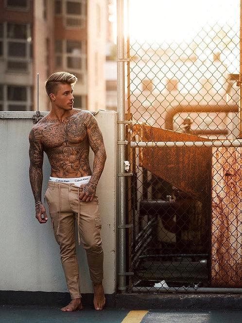 Johnny Edlind Shirtless Wearing Tan Slacks