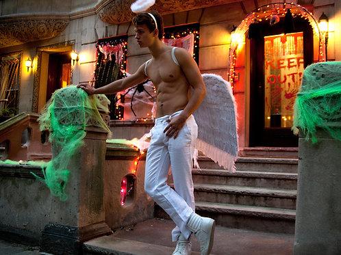 Ansel Elgort as an Angel for Halloween