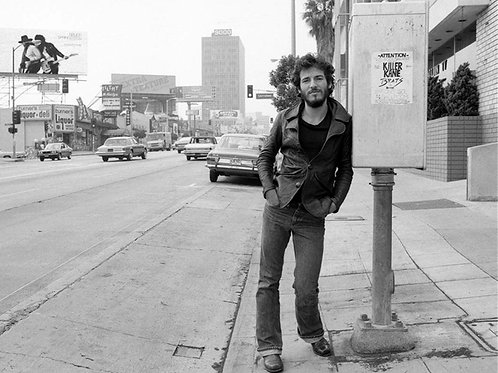 Bruce Springsteen in the 70's Leaning on a Telephone Booth