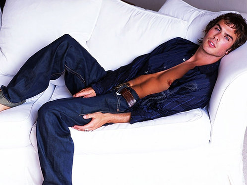 Ian Somerhalder on a White Sofa