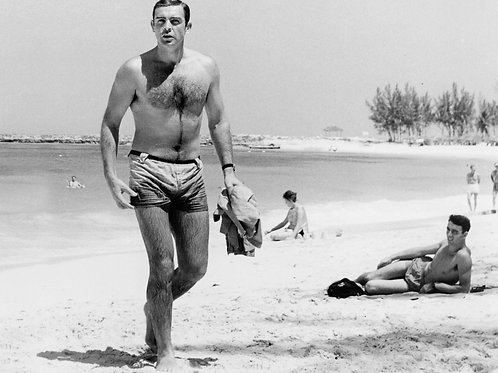 Sean Connery Shirtless at a Beach