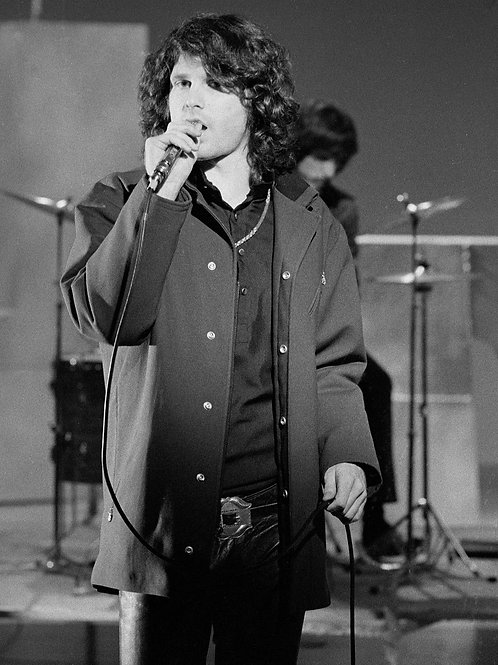 Jim Morrison Holding a Mike