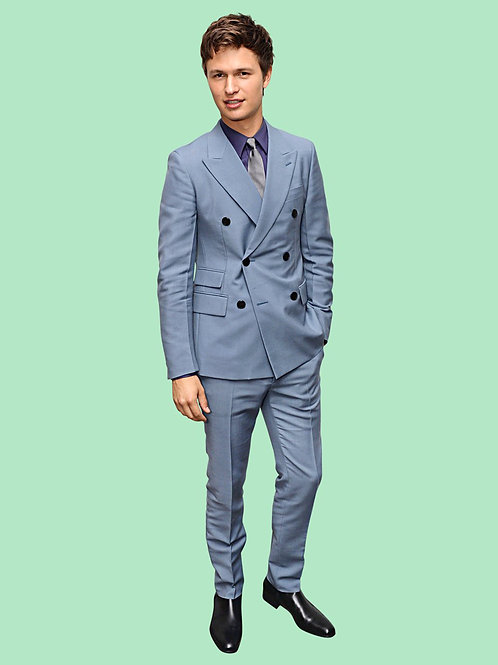 Ansel Elgort Wearing a Grey Suit
