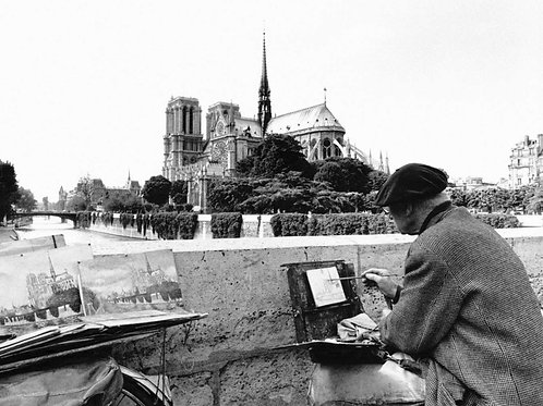 Artist Painting Notre-Dame Cathedral in 1899