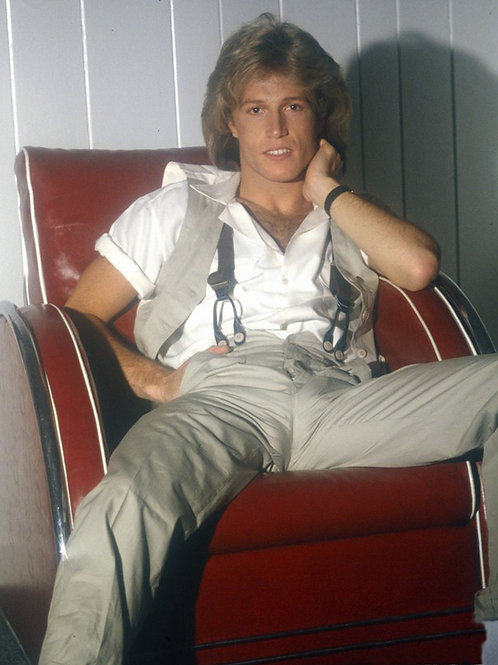 Andy Gibb Sitting in a Red Chair with a Huge Bulge in Grey Slacks