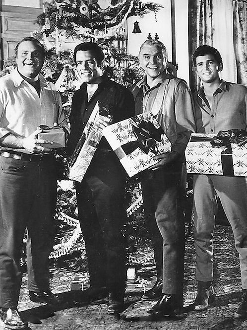 Cast of TVs Bonanza Celebrating Christmas