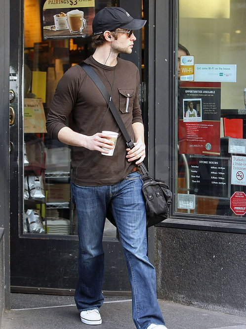 Bulging Chace Crawford with a Beard Scruff Leaving a Store