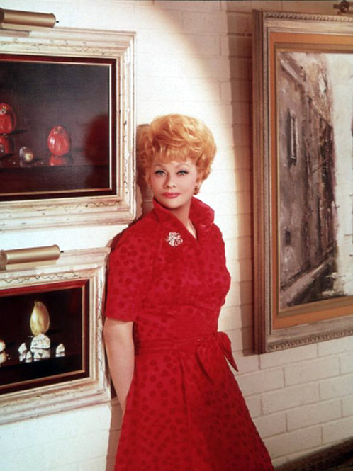 Lucy Ball in the 1960s Wearing a Red Dress