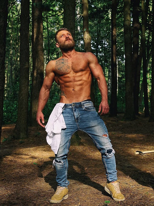 Redneck Shirtless in the Woods