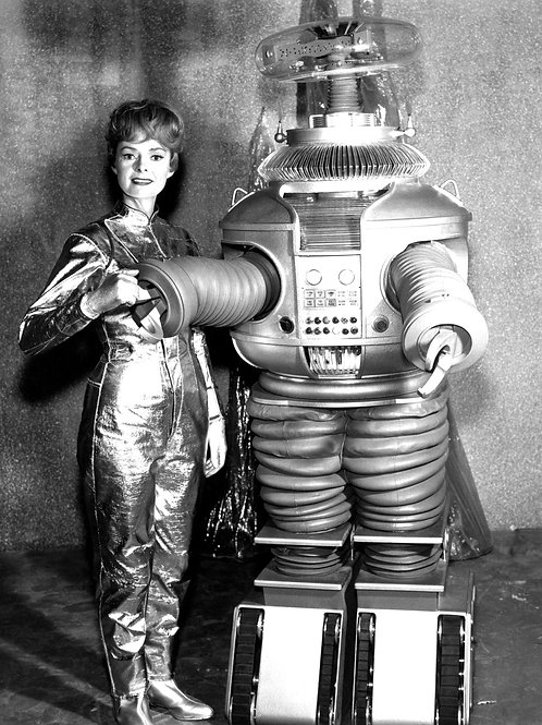 June Lockhart with the Lost in Space Robot