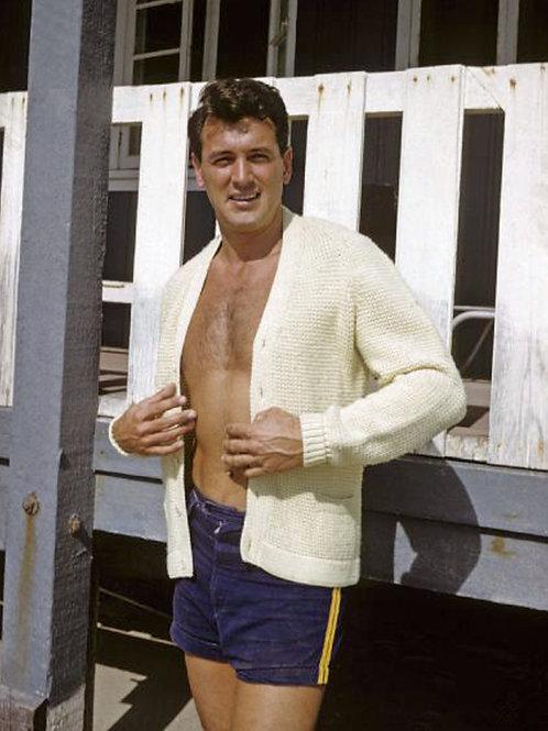 Rock Hudson at a Beach House Wearing Blue Shorts