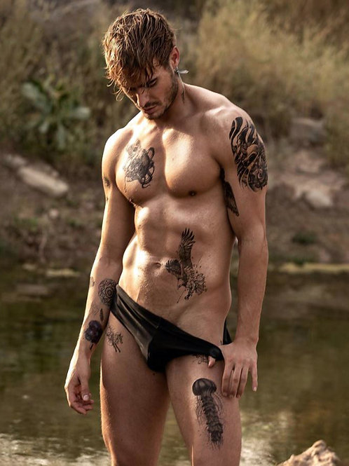Tattooed Man Thumb in his Swimsuit