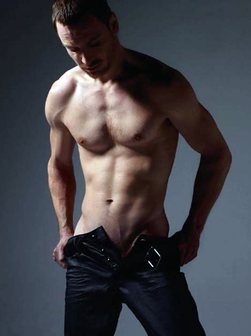 Shirtless Michael Fassbender with his Jeans Unbuttoned