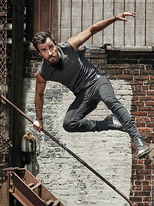 Justin Theroux Leaping a Railing