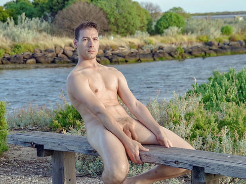 Nude Dude Leaning Back on a Bench