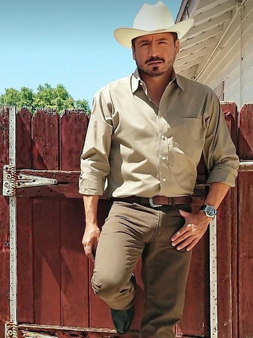 Tall Bulging Cowboy by the Gate